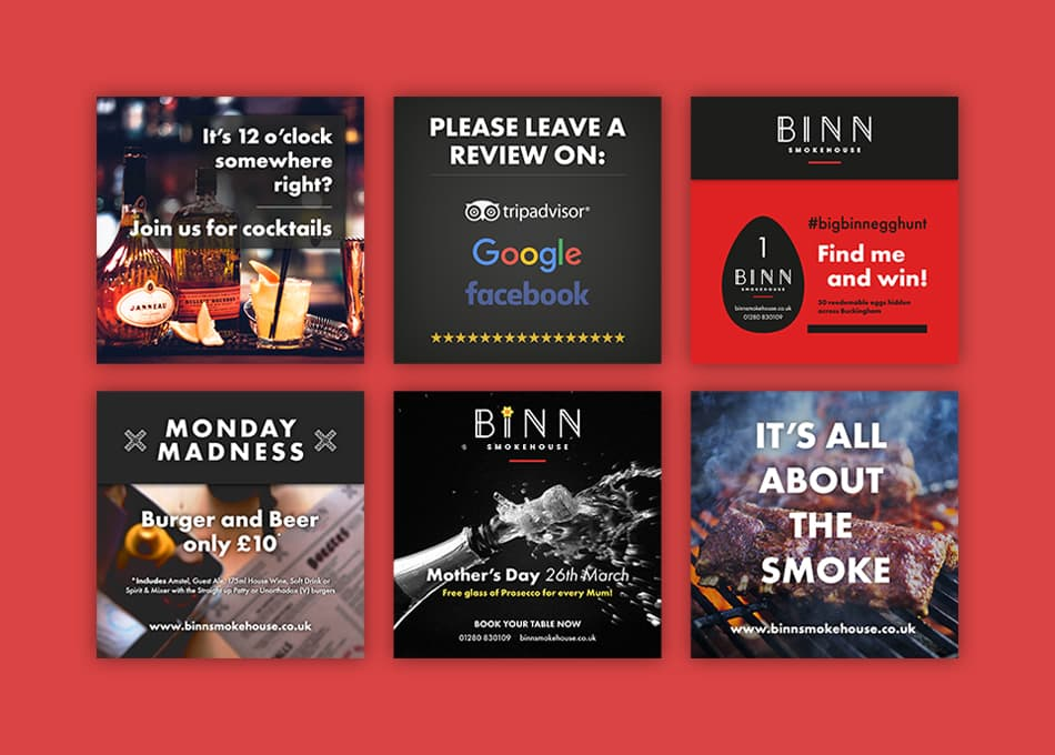 Binn Smokehouse Restaurant Social Media Graphics